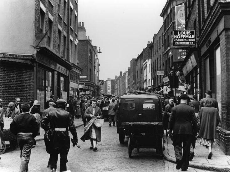 View down Brick Lane, 1957