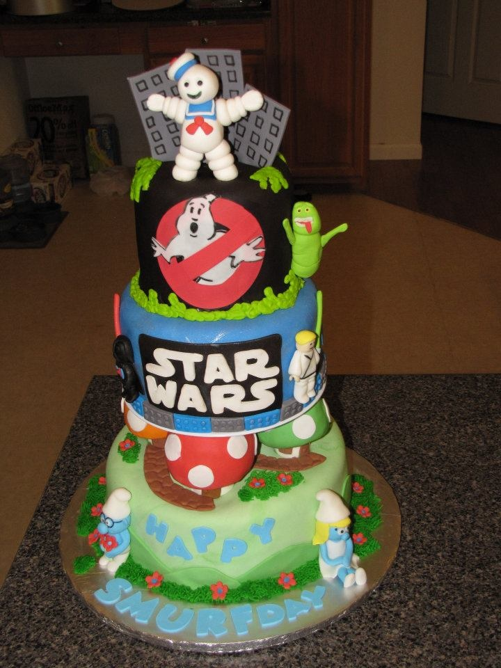 Multi Themed Cake Ghostbusters Lego Star Wars Amp Smurfs