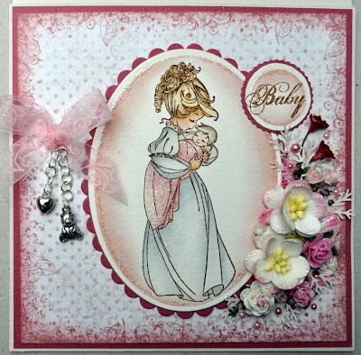 Annes lille hobbykrok: WOJ, Baby card, girl, Distress Ink