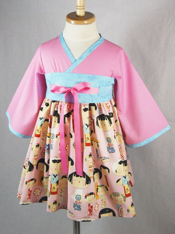 Little Girls Dress in Japanese Dolls by pinkmouse on Etsy, $49.00