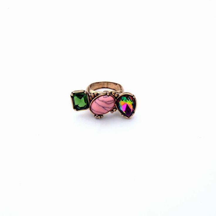 Memphis Colorful Synthetic Stone Antique Gold Plated Ring