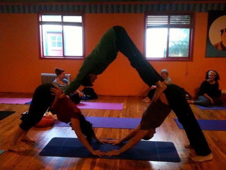 cool triangle partner yoga pose | yoga | Pinterest