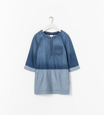 CONTRASTING DENIM DRESS from Zara $29.99 Has light blue denim elbow patches.