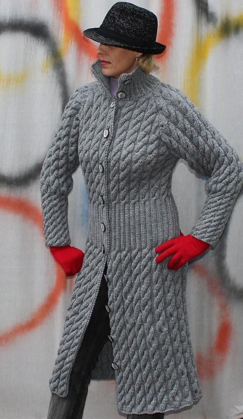Womens Hand Knit Wool Coat.26F | ПАЛЬТО КАРДИГАН ...