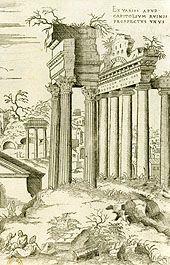 Vue du Capitole et de l'Arc de Septime Sévère par Jacques Androuet du Cerceau, 16e siècle.- Education de François d'Angoulême: alors que ses 2 prédécesseurs, Charles VIII et Louis XII ont consacré beaucoup de temps à l'Italie, ils n'ont pas saisi le mouvement artistique et culturel qui s'y développait. Ils ont néanmoins planté le décor qui permet l'épanouissement ultérieur de la renaissance en France.