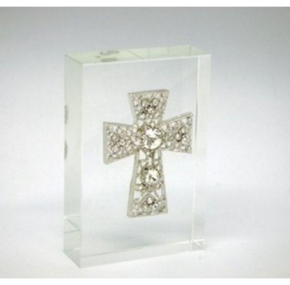 Glass Block with Silver Metal Cross