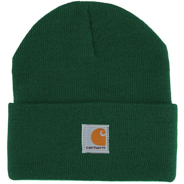 Carhartt Forest Green Watch Beanie (450 INR) ❤ liked on Polyvore featuring accessories, hats, acrylic hat, acrylic beanie hat, beanie caps, carhartt hats and forest green beanie
