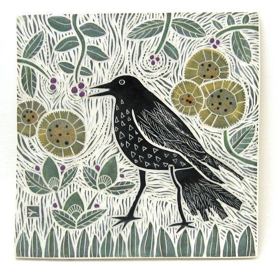 hand carved ceramic art tile crow in garden by crowfootstudio #crow #raven #ceramictile