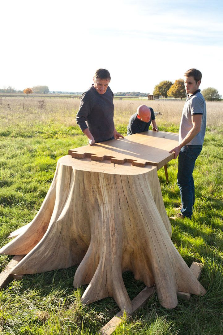 French designer Thomas de Lussac highlights the beauty of a simple tree stump with his stunning furniture project. Called the Racine Carré table (translated, this means Square Root), it incorporates powerful, raw roots into its sleek form. The flattened table top leans against the halved stump as the other end is propped up by a considerably smaller, polished leg. Similar to Fernando Mastrangelo's Drift Bench, Lussac's work blurs the line between furniture and sculpture. To produce the…