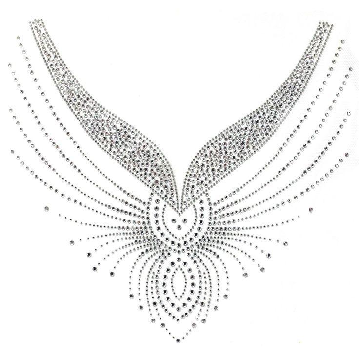 Rhinestone Hot Motif Crystal Fashion Design Dress Neckline Art Line Beautiful | eBay