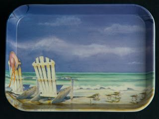 R2S Melamine Snack Tray -- Chairs at the Beach, by Kathleen Denis, small size, made in Italy.