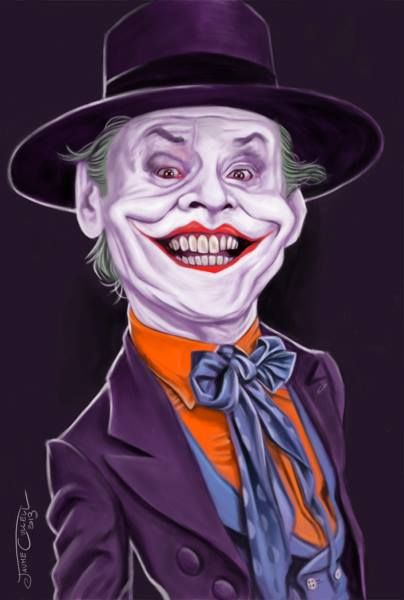 """El actor Jack Nicholson, interpretando al Joker en la saga """"Batman"""", caricaturizado por e..."""
