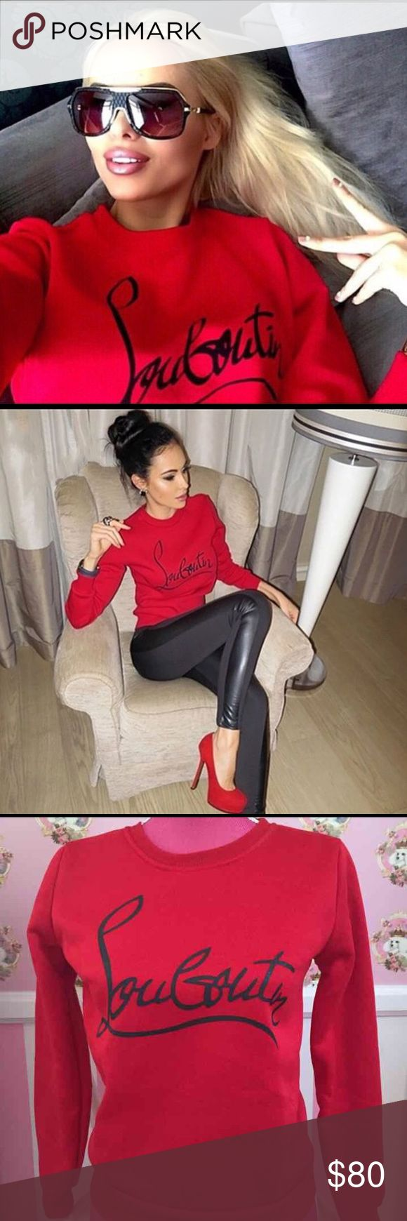 Louboutin Sweater Red Sweater with black Louboutin letters. Fashion Sweater, not a Christian Louboutin Brand. Sweaters
