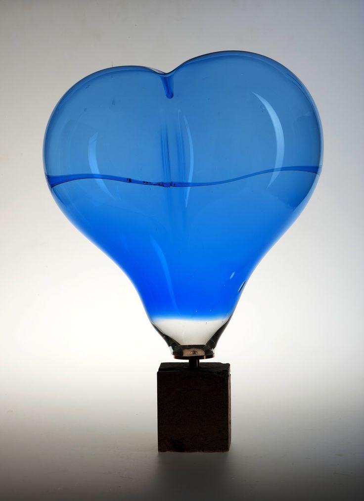 """Lubomir Blecha, """"Cobalt heart of his Majesty Mr. Holzner"""" glass object, H: 55,0 cm, 1975 - 77, glassworks Zlatno, Czechoslovakia"""