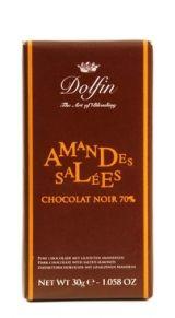 Dolfin 30g. Ciocolata neagra 70% cu Migdale Sarate