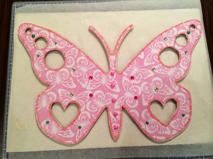 A wooden butterfly I have decorated for my eldest daughter.