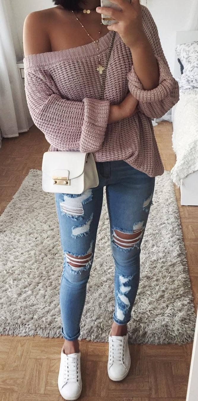 fashion trends one shoulder knit sweater   bag   ripped jeans   sneakers