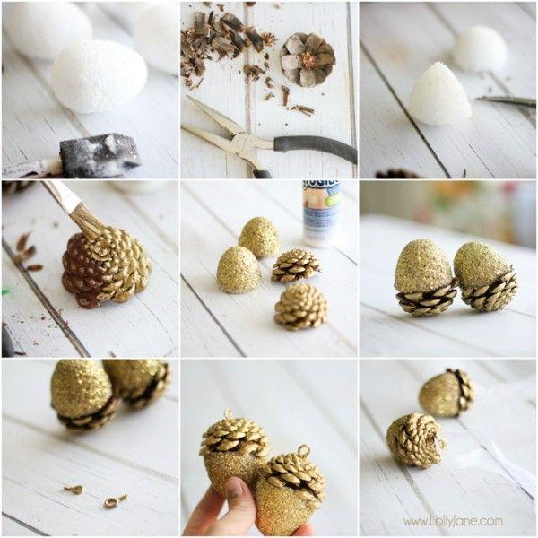 Glitter acorn christmas ornaments jars christmas for Acorn decoration ideas