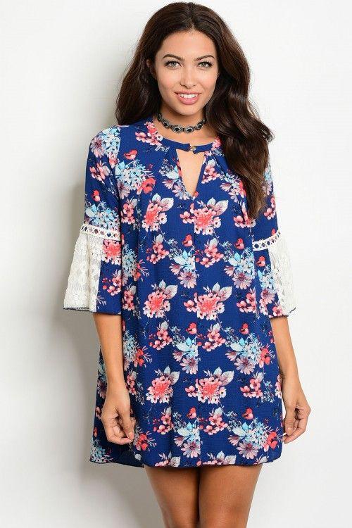 Navy Floral Bell Crochet Sleeve dress Item #GV203