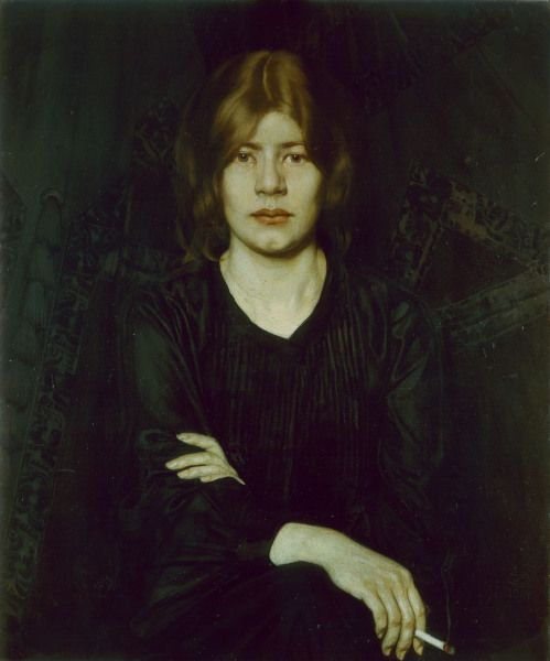 Oskar Zwintscher-Oskar Zwintscher, Woman w.cigarette 1904