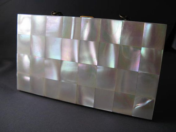 New Old Stock Vintage Marhill Mother of Pearl Clutch by tiachia, $75.00