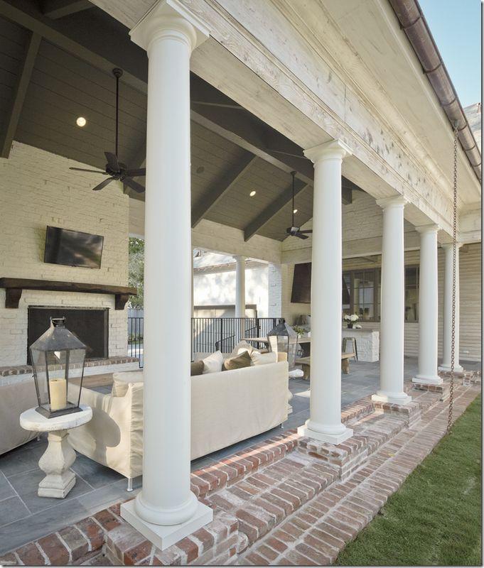 ...: Brick Step, Outdoor Living, Columns, Covers Decks, Bricks, Outdoor Spaces, White Brick Fireplaces, Porches, Decks Patio