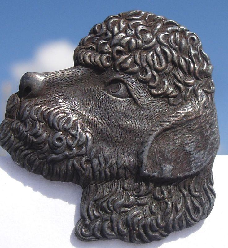 """ButtonArtMuseum.com - Scarce Realistic """"Poodle Dog Head"""" 1940s Pewter Vintage Antique Picture Button"""