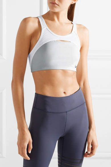 af79874fc7733 Nike - Pro Cutout Dri-fit Stretch And Mesh Sports Bra - Light gray ...