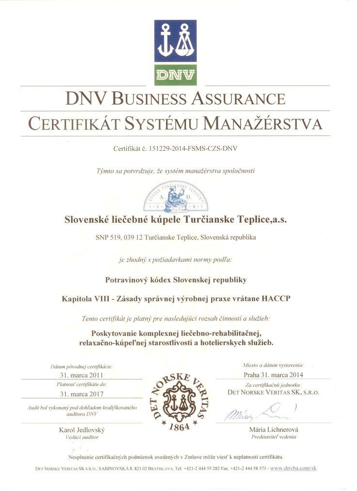 Certifikáty | Kúpele Turčianske Teplice