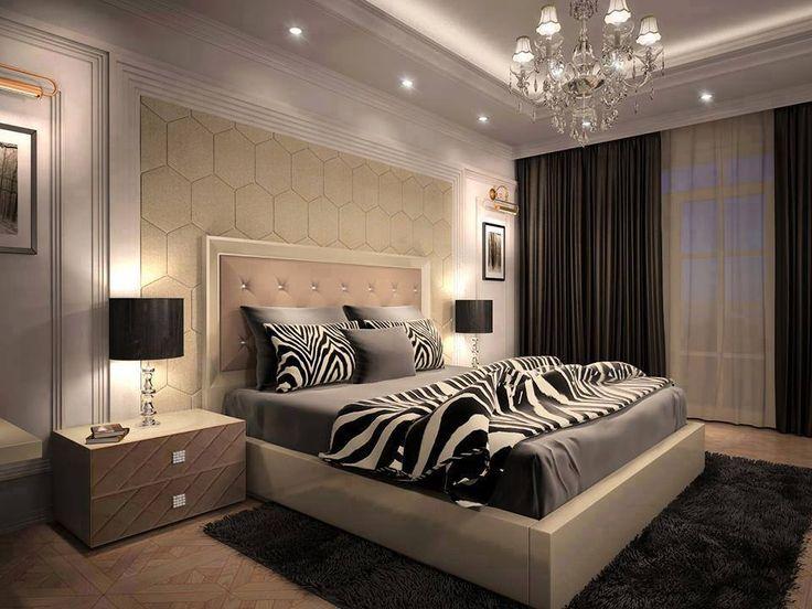 Hálószoba egzotikus zebra mintával