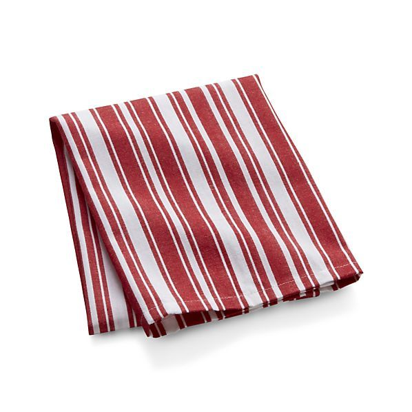 Cheery red and white stripes give this soft and absorbent dishtowel a fresh, contemporary look. Softness will improve upon washing.