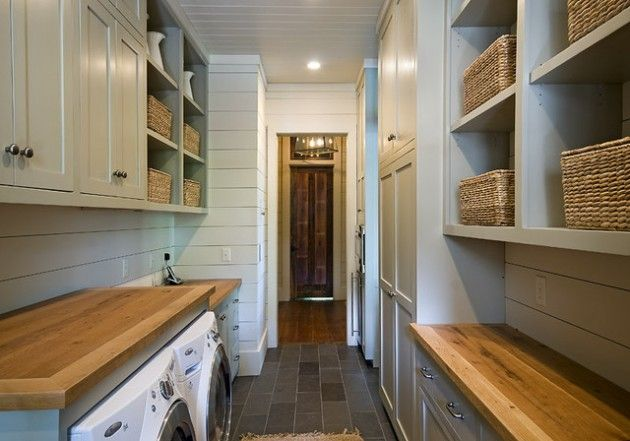 Great use of a narrow space... this could almost be a laundry inside a Butler's Pantry... 26 Contemporary Super Smart Laundry Room Designs