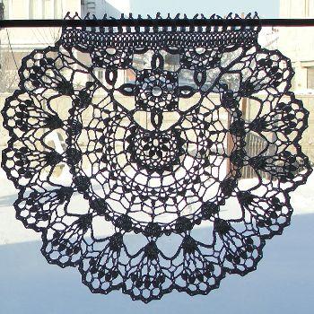 Шторки-zazdrostki «Фиалки», Cafe Curtain, crochet-curtain