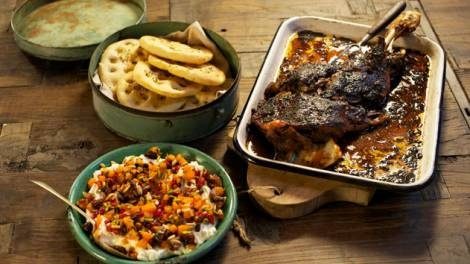 To adapt - Shane Delia. Slow-roasted lamb with jewelled yoghurt recipe