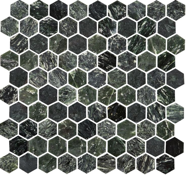 34302 U Hexagon Green Marble polished. Grön polerad marmormosaik i populärt hexagonformat.