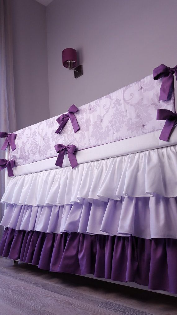 crib bumper crib bedding baby bedding set purple 4 by Hayleyshouse