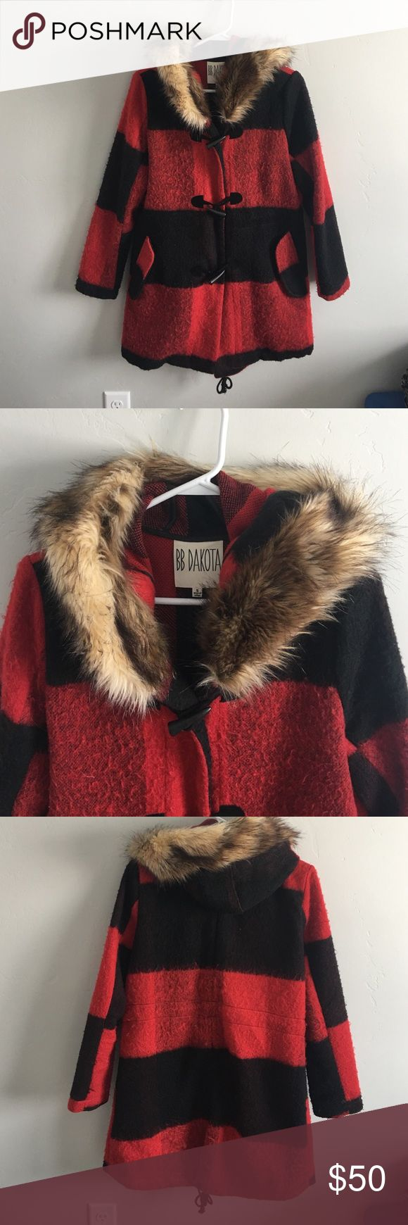 BB Dakota buffalo check trench coat Like new trench coat. Only worn once! Warm, soft, and cute. BB Dakota Jackets & Coats Trench Coats