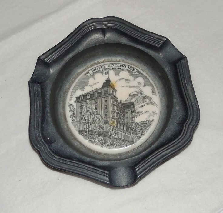 "Vintage Hotel Edelweiss Engelberg, Switzerland Pewter Ashtray 4 3/4"" Diameter"
