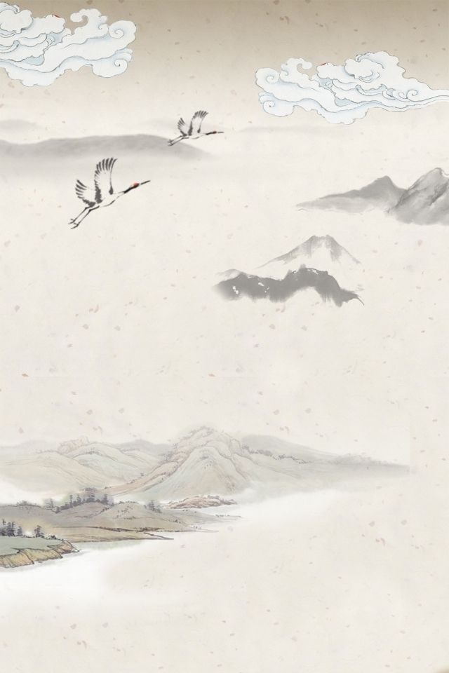 灰色水墨創意山峰背景灰色水墨創意古風背景裝飾白雲藝術 Background Antiques