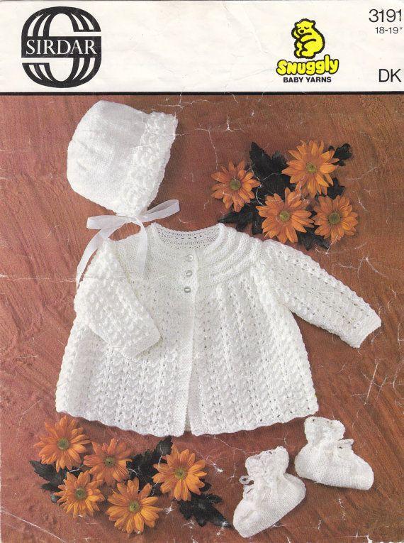 "3191 Sirdar Knitting Pattern Baby Jacket Bonnet Bootees DK 18-19"" 46-48cm"