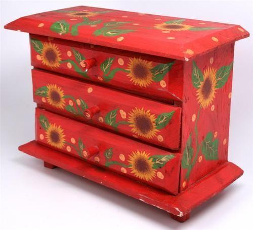 Red Lacquered Scandinavian Dresser Box