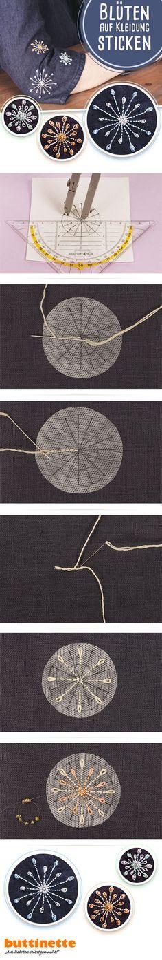 Gestickte Details für Jacken, Jeans oder einfach Eure Lieblingsteile! Wir zeigen Euch in unserer kostenlosen Blog-Anleitung, wie es geht! #sticken #Stickerei #embroidery #free #tutorial #kostenlose #Anleitung #buttinette