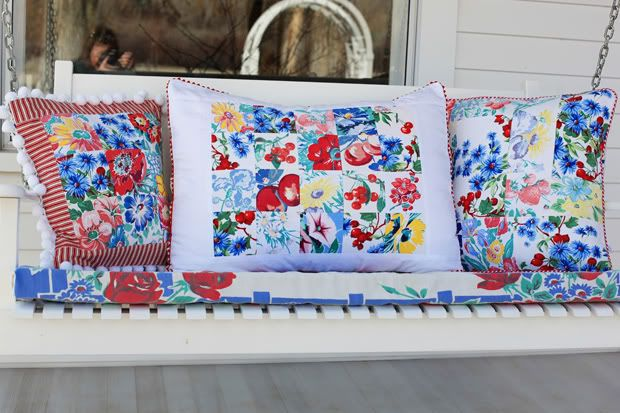 pillow cases from vintage table cloths: Patchwork Pillow, Patchwork Cushion, Vintage Linen