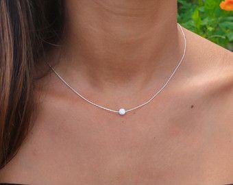 Weisser Opal Halskette Opal Halskette kleine von KRcollection