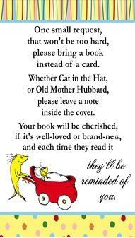 Dr. Seuss One Fish Two Fish Baby Shower Book Request Card by DannisCuteCreations