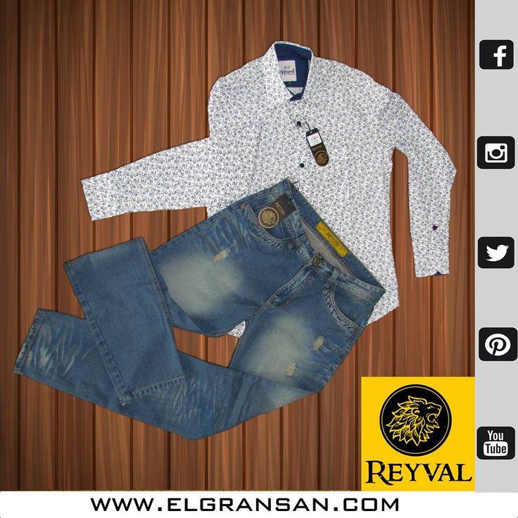 Nuestra #MarcaDelDía: Reyval, trae lo mejor en ropa masculina. Jeans y camisas para el hombre de hoy.  Te esperamos en el local: 1234. Tel: 4892526. Cel: 3103195118.  #ColombianoCompraColombiano