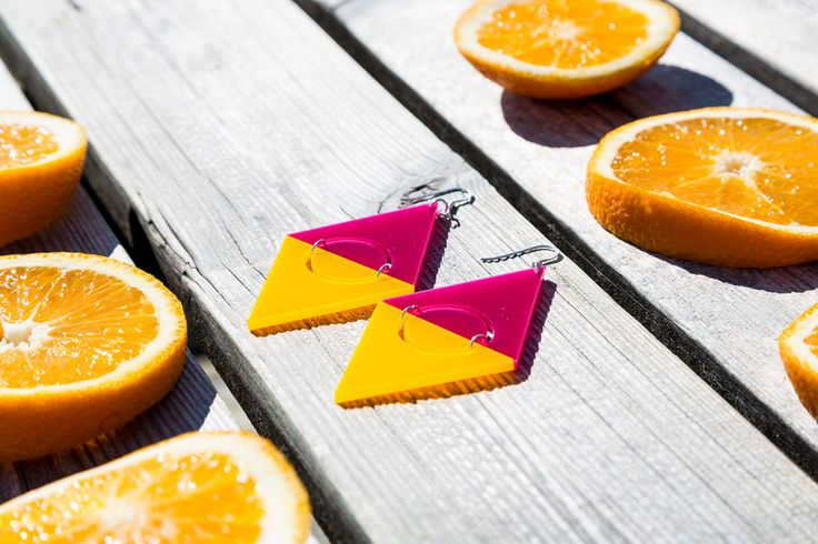 Your fashion vitamins - bright earrings and #clipons from Geometria collection: Tropical Sunrise, Citrus Kiss and Raspberry Taste. Discover #geometric and bold earrings with kivimeri.com