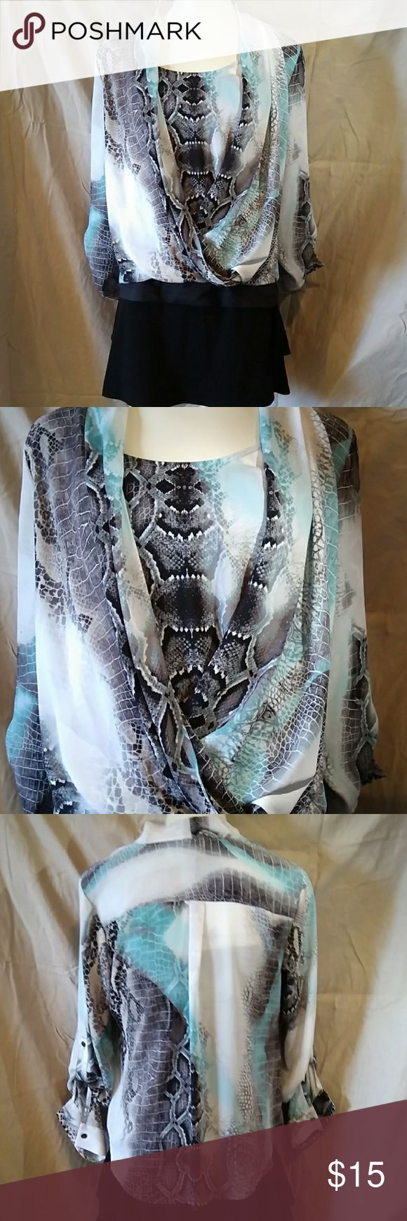 Petite faux wrap blouse Petite size faux wrap blouse. Hides your belly. White with black and turquoise print. Alfani Tops Blouses