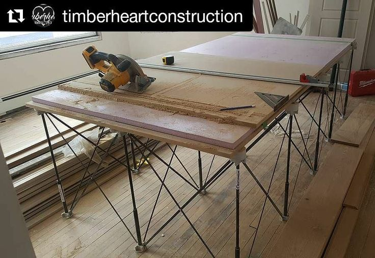 """Awesome #CentipedeTestimonial repost from the #jobsite via @timberheartconstruction:    Today's cut table is brought to you by the letter """"C"""" as in @centipedetool. Here I'm making a built in a/v unit for the loft at the widow maker. As you can see I have some 1"""" SM in top of the saw horse to prevent cutting through the P-tops on the Centipede. I own 3 sizes of these things and they are amazing. Lightweight, portable, space saving, durable, and affordable."""