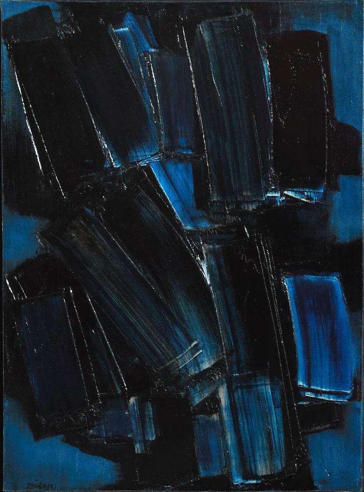 Pierre Soulages - Peinture  Oil on canvas 73 x 54 cm Signed lower left. 1957. Exhibitor: Applicat-Prazan.
